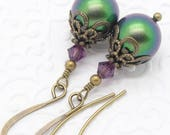 Scarabaeus Green Neo Victorian Earrings with Swarovski Pearls and Purple Crystals