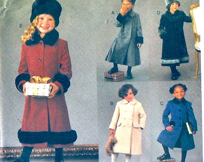 Chic Girls coats hats fitted A line lined coat Autumn Winter wear sewing pattern Vogue 7368 size 5 to 6x
