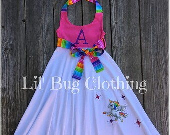 Unicorn Pony Girl Dress, Rainbow & Stars Unicorn Pony Birthday GIrl Dress, Unicorn Birthday Party Dress, Unicorn Girl Outfit