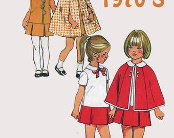 Vintage 1970s Toddler Girls Cape and Drop Waist Dress Sewing Pattern Simplicity 5480 Retro 70s Pattern Size 4 Breast 23