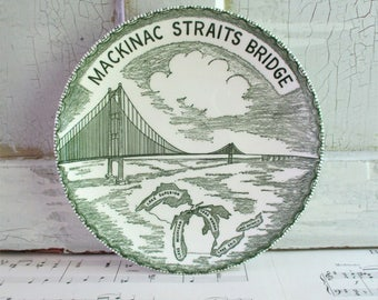 Vintage Michigan Mackinac Straits Bridge Souvenir Plate