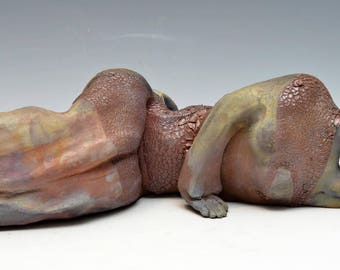 Abstract Figure at Rest in Raku Ceramics