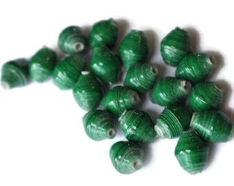 20 10mm Ugandan Paper Beads Fair Trade Beads Dark Green Beads African Paper Beads Small Small Paper Beads Sealed Paper Beads Upcycled Beads