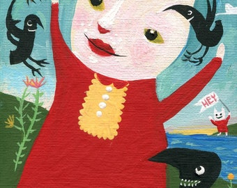 "Cat & Crow Art Painting - Whimsical Original Outsider Folk Artwork Wall Decor on 5x7"" Canvas"