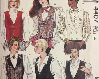 Vintage 80's Misses' Vests Sewing Pattern McCall's 4407  Bust 36 Size 14  Complete