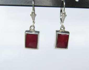 Modernist Sterling Silver and Inlaid Red Coral Dangle Lever Back Earrings   1637C