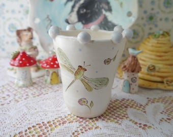 Small Ceramic Stoneware Vase with Painted Flowers, Bumble Bees and Dragonflies