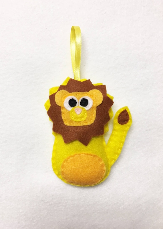 Lion Ornament, Felt Ornament, Lambert the Yellow Lion, Christmas Decoration, Gifts under 15