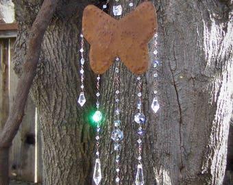 Butterfly Crystal Sun Catcher | Rustic Mobile Rainbow Maker | Garden Decor | Feng Shui | Housewarming Gift