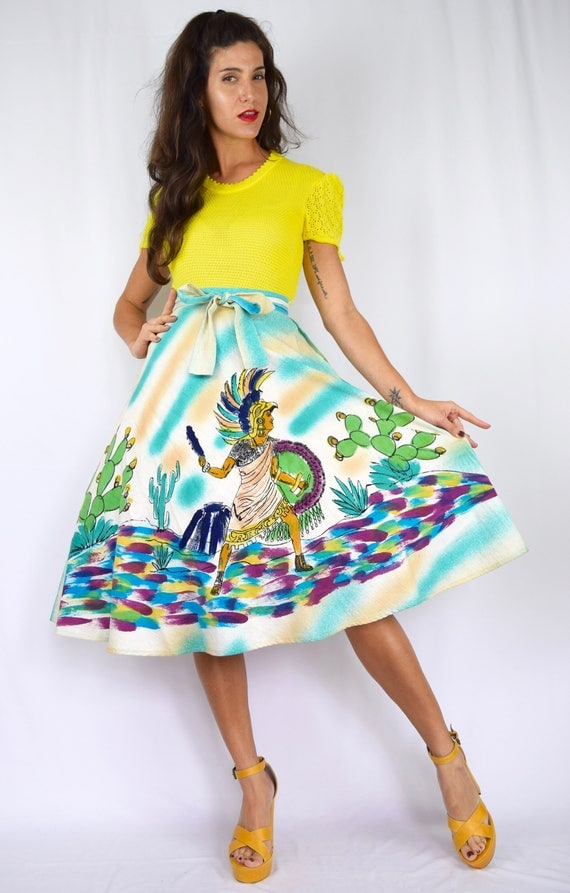 Vintage 50s Hand Painted Mexican Warrior Hand Painted Circle Skirt (size xxs, xs)
