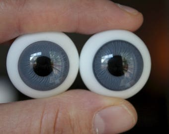24mm Lauscha German Glass Eyes - Blue-Gray