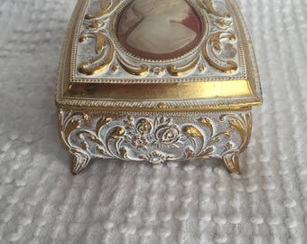 Vintage Gold and Ivory Metal Square Jewelry Trinket Box with Lovely Cameo and Detailing