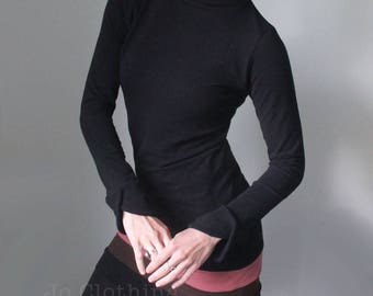 mock turtleneck tunic dress/long sleeved with petal cuffs/black with marsala pink/chocolate brown