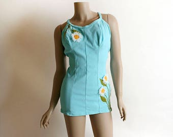 Vintage 1960s Bathing Suit - DeWeese Design Daisy Applique Aqua Blue Pin-Up Bombshell One Piece Maillot - Modest Slim Cut Fit - Medium Small