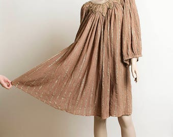 Vintage Gauzy Tent Dress - Cotton Light Cocoa Tan with Gold Threads - Floral Neckline - Hippie Boho Bohemian Loose Fit Gauze Dress
