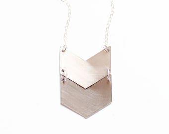 Double Chevron Necklace   Brass Necklace   14k Gold Fill Necklace   Sterling Silver necklace   Geometric Necklace