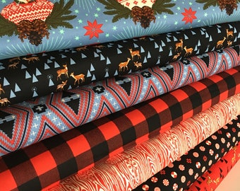 Holiday Fabric, Rustic Decor, Holiday Homies by Tula Pink, Ugly Sweater, Deer Fabric, Buffalo Plaid, Fabric Bundle of 7, Choose your Cuts