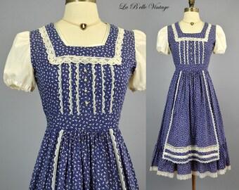 1970s Gunne Sax Prairie Dress S XS ~ Vintage Blue Floral Apron Ruffle