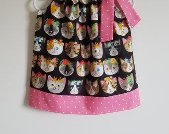 Pillowcase Dress with Cats Girls Dresses Kitty Cat Dress Whiskers & Tails Kitty Cat Faces and Flowers Spring Dresses for Girls Toddler Dress