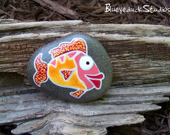 Redhead, Ginger, Original hand painted Beach Rock, Lake Erie, handpainted, earth art, reclaimed, inked, stone, Fish, Folk Art