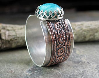 Mixed metal ring sterling silver copper amazonite turquoise cowgirl western solitaire pattern wire band ring - Western Skies