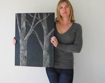Night Forest Textured Tree painting - oak tree landscape - dark forest painting - woodland trees - bark texture - rustic woodland forest