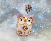 Purple Fairy Owl Sculpture with Flowers