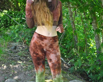 Bamboo Pants - womens Yoga Pants - Hippie tie dye Pants - Hand Dyed Leggings - Boho hippie Clothing, green and brown bamboo leggings