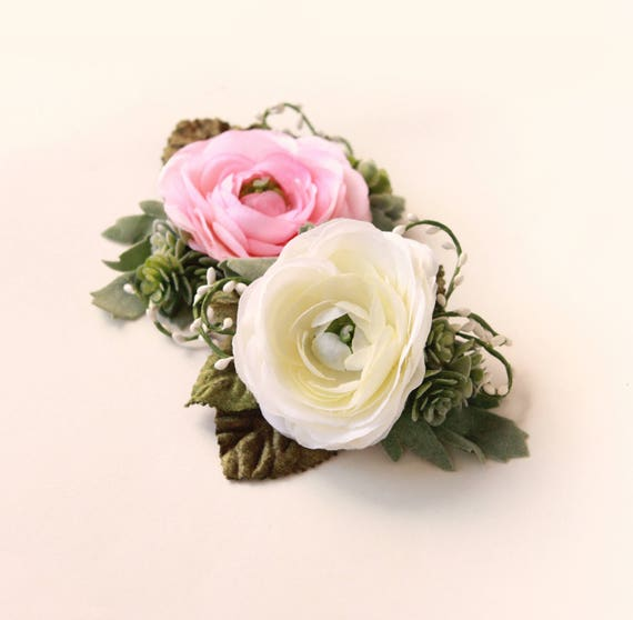 Succulent flower clip, Ranunculus Flower hair clip, PINK or WHITE, Bridal flower clip, floral hair clip, Wedding flower hair