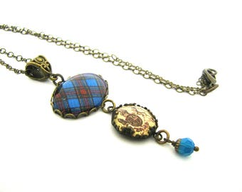 Scottish Tartan Jewelry - Ancient Romance Series - Stewart Blue Necklace w/Scottish Royal Crest Charm and Caribbean Blue Swarovski Crystal