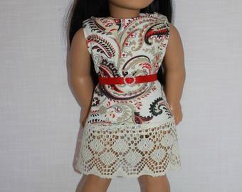 18 inch doll clothes, paisley print tank dress with belt, sleeveless summer dress, Upbeat Petites