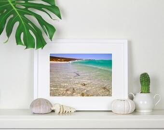 Turquoise peeling wave at Smiths Beach, Western Australia. Surf art, Beach House print