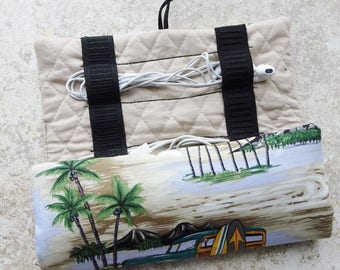 Cord Organizer, Cord & Adapter Travel Case, Device Charger Cord Storage Roll, Earbud Case,Tropical Fabric, Woodie Cars, Beach, Gift for Him