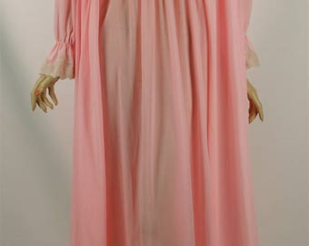Vintage 1980s Peignoir Set Pink Nylon and Lace Nightgown and Robe by Val Mode Sz S