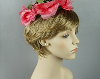 1960s Vintage Hat Pink Silk Flowered Whimsey Style by Mr John Demi Chapeau