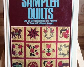 quilt patterns, quilt book, applique designs, sampler quilts, traditional quilt patterns, vintage 1980s, patchwork quilting, applique