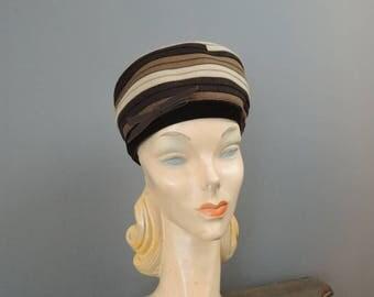 Vintage Hat Wool Brown, Tan & Beige Strips, fits 21 inch head, 1950s 1960s