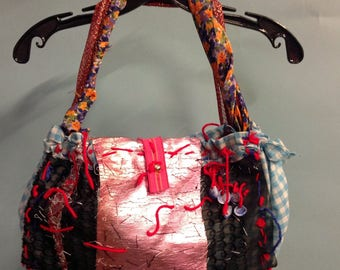 vegan COUTURE HANDBAG, made by artists co-op, one of a kind, art to wear, wearable art, pink handbag, unpredictable, bohemian luxury