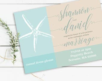 Printable Wedding Invitations 5x7, Beach, Nautical, Destination Invitation, Wedding Party, Wedding Invitation, 5x7, Wedding Invite