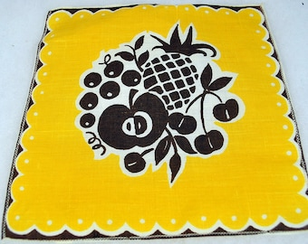 "1950s Mid Century Modern Yellow Brown Woven Linen Napkins Towels  with Apples Pineapple and Cherries - 7-3/4"" Square"