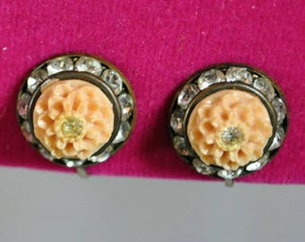 Vintage Carved Salmon Celluloid Floral Flower Round Earrings with Rhinestones - Screw Back Circles