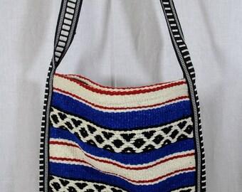 Woven Southwestern Design Falsa Blanket Handbag Purse Bag Beach Baja Hippie Striped Tote Unused - Blue Red Black