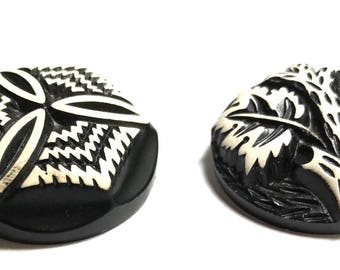 Pair Of Vintage Buffed Celluloid Buttons - Black And White
