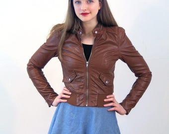 Gemma, 90s Faux Leather Jacket XS, Brown Biker Jacket, Cropped Jacket, Vegan Leather Jacket, Tiny Fit Jacket, Imitation Leather Jacket