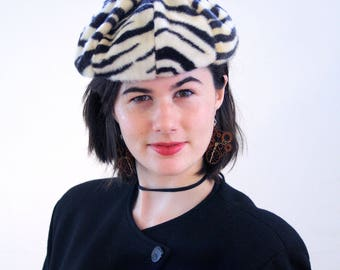 70s Zebra Hat, Zebra Faux Fur Hat, Zebra Pillbox Hat, Zebra Print Beret, Animal Print Vintage Hat size 22, Black and White Imitation Fur Hat