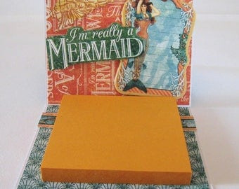 Post it note holder -  Thank You gift - Mermaid Desk accessory - Office accessory - Sticky note holder
