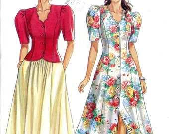 New Look 6527 Scalloped Neckline Dress Jacket Top Skirt Size 6 8 10 12 14 16 18 Uncut Vintage Sewing Pattern 1990s