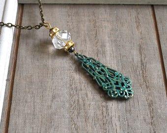 Finial Ornament Necklace Verdigris Green Filgree Romantic Pendant Bohemian Boho Layer Necklace Art Nouveau Motif Long Charm Style