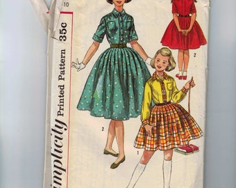 1960s Vintage Childs Sewing Pattern Simplicity 2164 Girls Full Skirt Dress Button Front Shirtwaist Size 10 Breast 28 60s 1960s