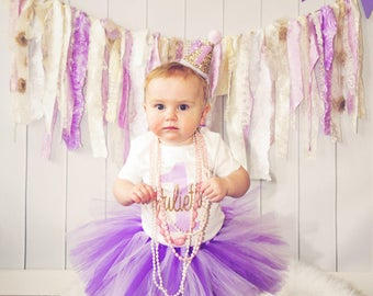 Personalized Lavender and Gold Cake Smash Outfit Girl, First Birthday Outfit Girl, Lavender and Purple 1st Birthday Outfit Girl, Tutu Skirt